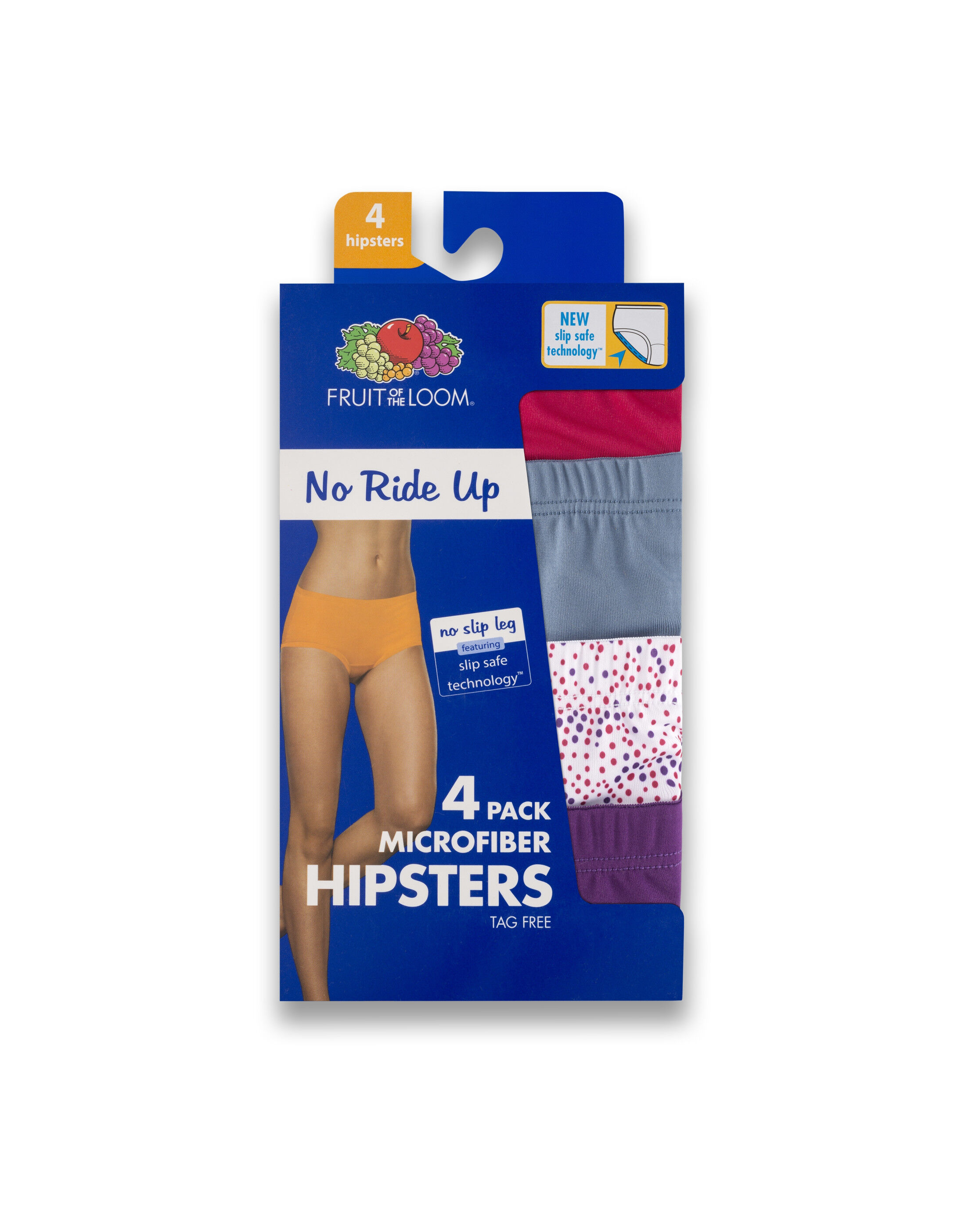 Fruit of the Loom Women/'s 4 Pack No Ride Up Hipster Panties Size M//6