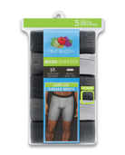 Men's Micro-Stretch Black/Gray Long Leg Boxer Briefs, 5 Pack ASSORTED