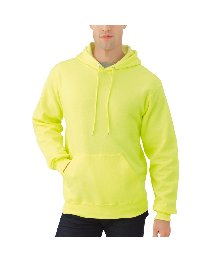 Men's Dual Defense EverSoft Pullover Hooded Sweatshirt, 1 Pack Safety Green