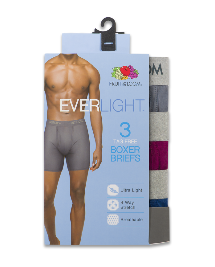 Men's EverLight Assorted Boxer Briefs, 3 Pack, Extended Sizes Assorted