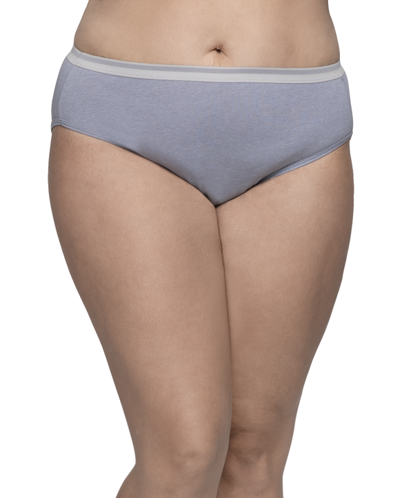 Women's Plus Fit for Me Heather Cotton Hi-Cut Panty, 6 Pack ASSORTED