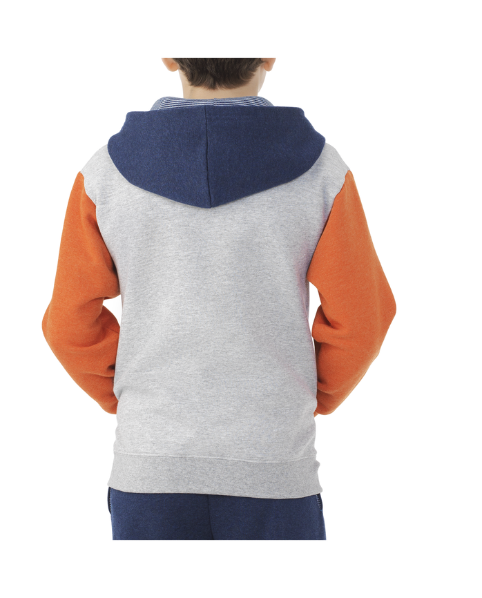 Boys Fleece Full Zip Hoodie Orange Heather