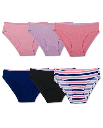 Girls' Assorted Breathable Micro-Mesh Bikini Panty, 6 Pack