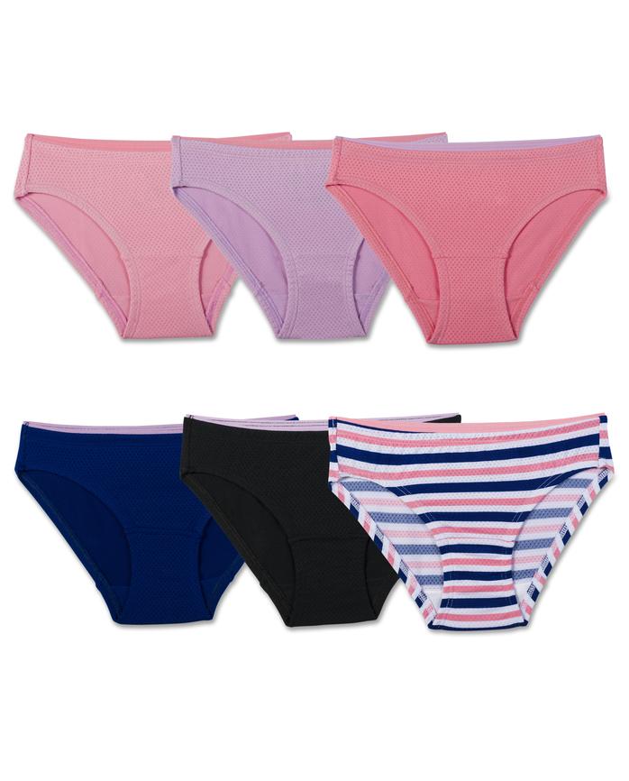 Girls' Assorted Breathable Micro-Mesh Bikini Panty, 6 Pack Assorted