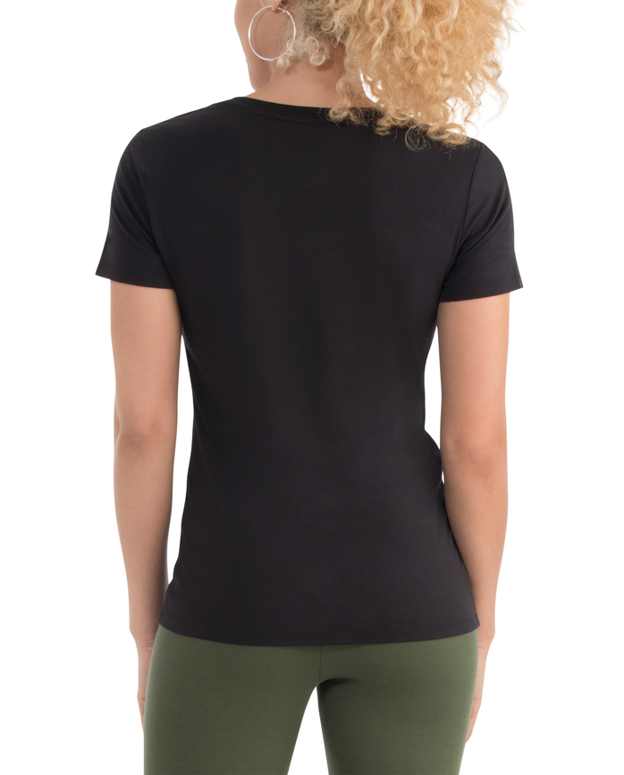 Women's  Seek No Further Short Sleeve V-Neck T-shirt Brilliant Black