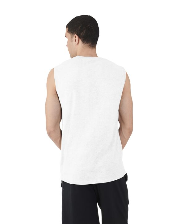 Big Men's Dual Defense UPF Sleeveless Muscle Shirt White
