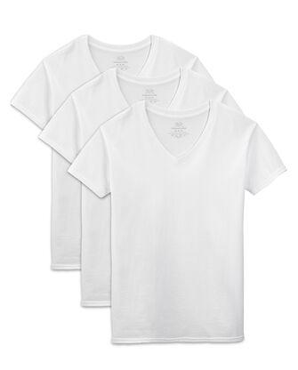 Men's Short Sleeve White V-Neck T-Shirts, 3 Pack