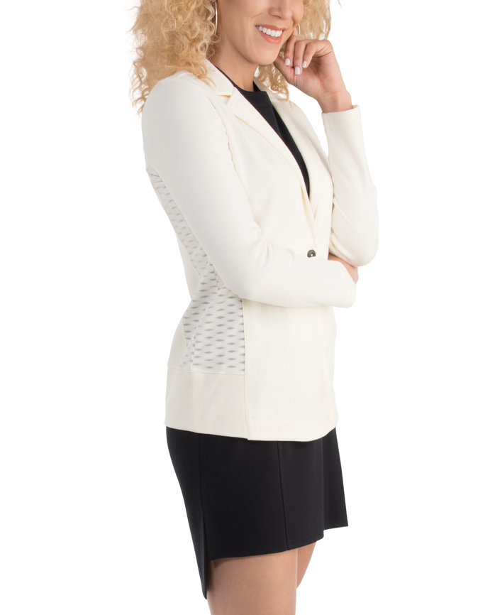 Women's Seek No Further Long Sleeve Open Front Fitted Blazer Ivory