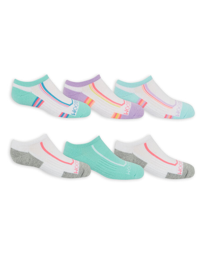 Girls' Active Cushioned No Show Socks, 6 Pack WHITE/GREEN, WHITE/PURPLE, WHITE/BLUE, WHITE/GREY, GREEN