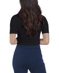 Women's Seek No Further Mock Neck Ribbed T-Shirt Brilliant Black