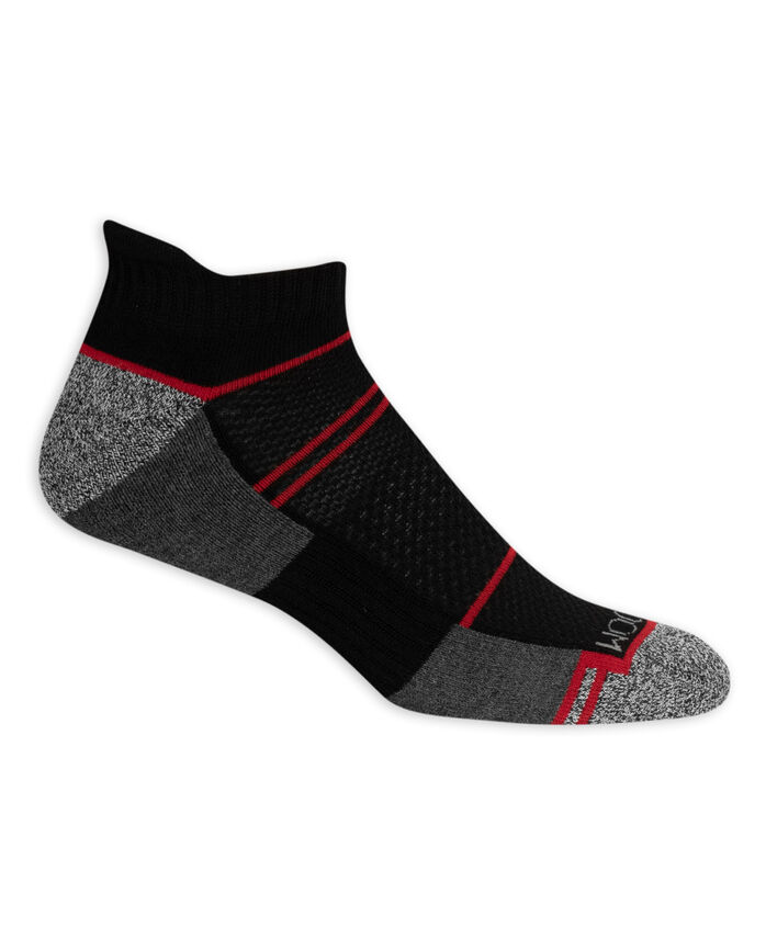 Men's Breathable Low Cut Socks, 8 Pack, Size 6-12 BLACK/GREEN, BLACK/GREY, BLACK/RED, BLACK/BLUE, BLACK/YELLOW