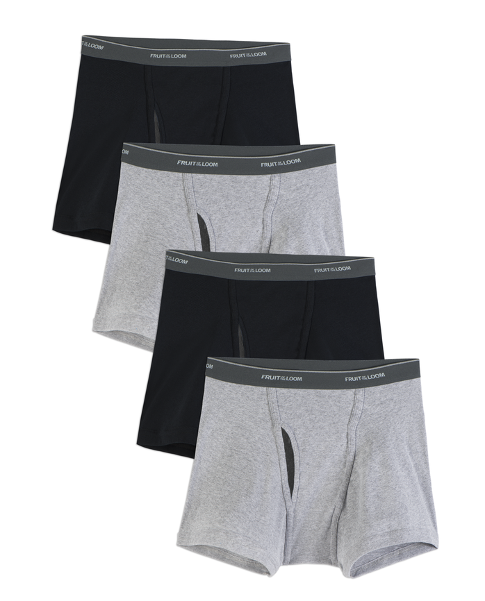 Men's COOLZONE Black/Gray Short Leg Boxer Briefs, Extended Sizes, 4 Pack
