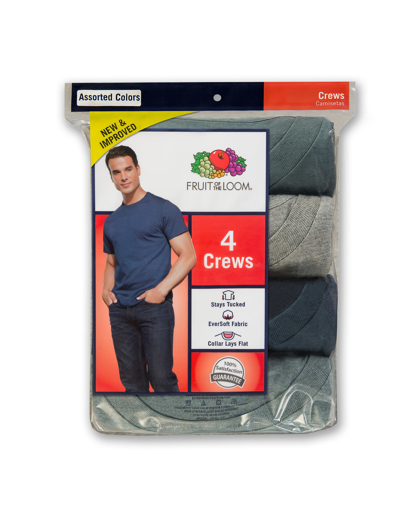 8889bfaadbb63f ... Men s 4 Pack Assorted Color Crew T-Shirt Assorted