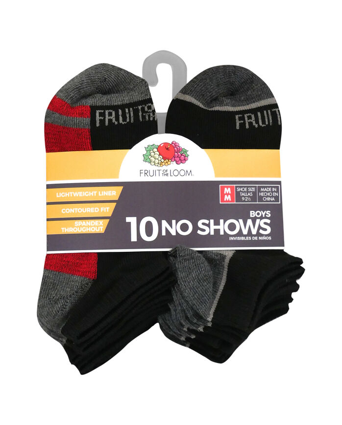 Boys' Lightweight No Show Socks, 10 Pack JET BLACK/HIGH RISK RED,JET BLACK/LEMONCH, JET BLACK/VIBRANT ORANGE, JET BLACK/B50, JET BLACK/DIRECTOR BLUE, JET BLACK/B50, JET BLACK/B50, JET BLACK/B