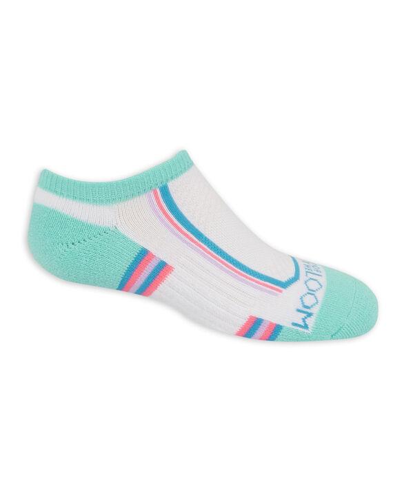 Girls' Active Cushioned No Show Socks, 6 Pack WHITE/GREEN, WHITE/PURPLE, WHITE/BLUE, WHITE/GREY, GREEN