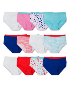 Girls' 12 Pack Assorted Color Brief