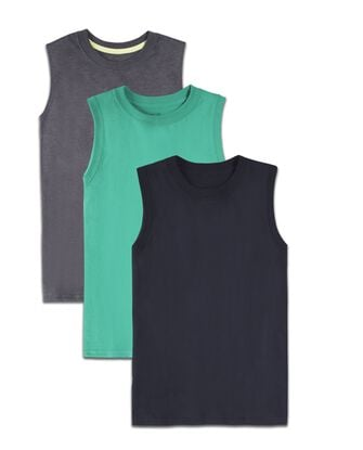 Boys' Super Soft Solid Multi-Color Sleeveless Muscle Shirts, 3 Pack