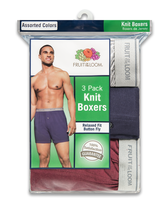 Men's Knit Boxers, 3 Pack Assorted