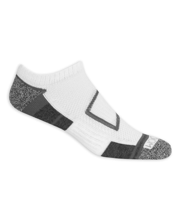 Men's Breathable No Show Socks, 8 Pack, Size 6-12 WHITE/GREY