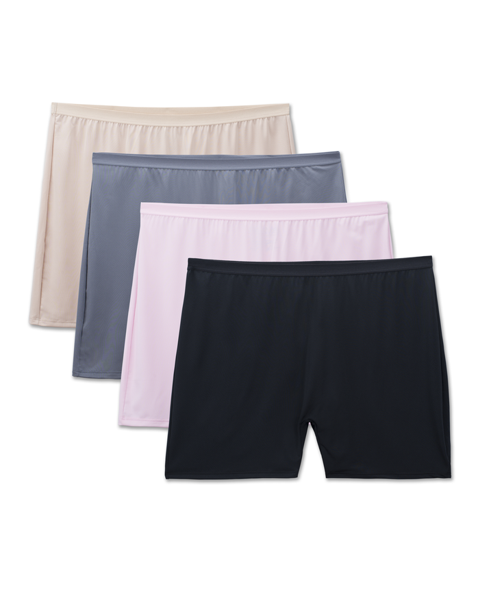 Women's Fit for Me by Microfiber Slip Short Panty, 4 Pack Assorted