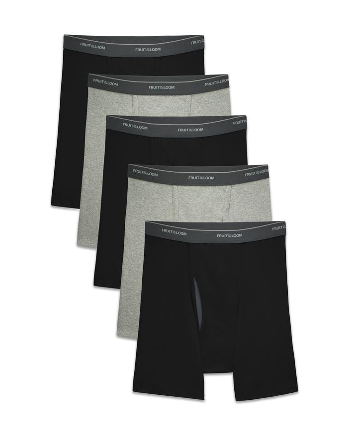 Men's COOLZONE Black/Gray Boxer Briefs, 5 Pack