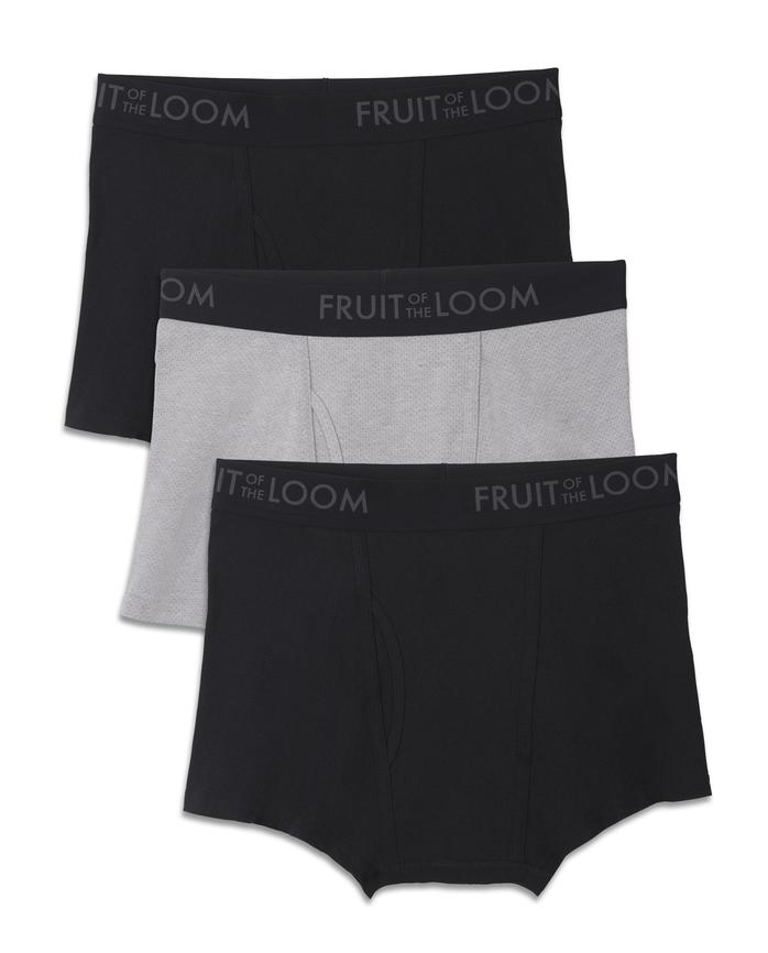 Big Men's Breathable Black/Gray Short Leg Boxer Briefs, 2XL, 3 Pack