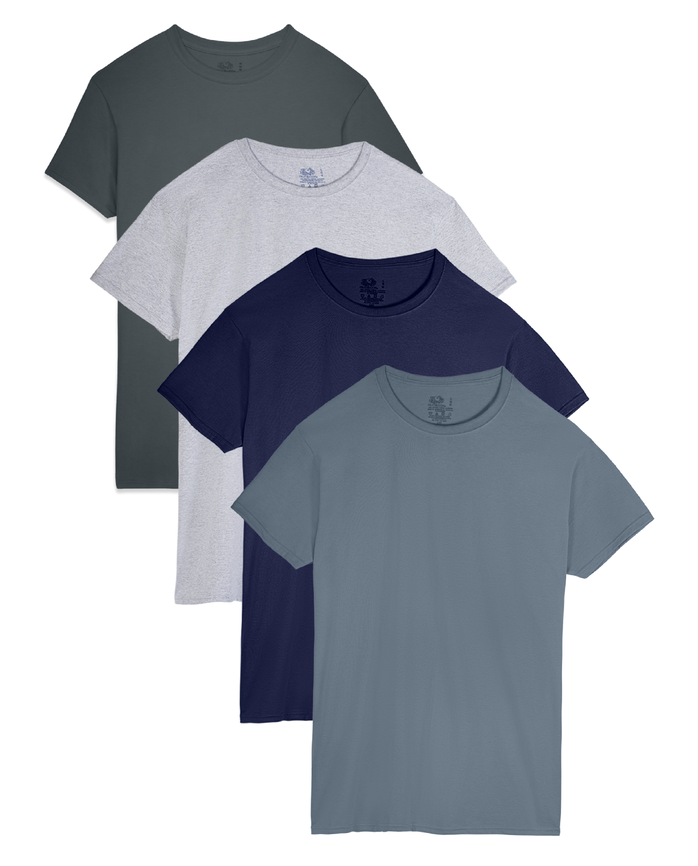 Men's Short Sleeve Assorted Crew T-Shirts, Extended Sizes, 4 Pack
