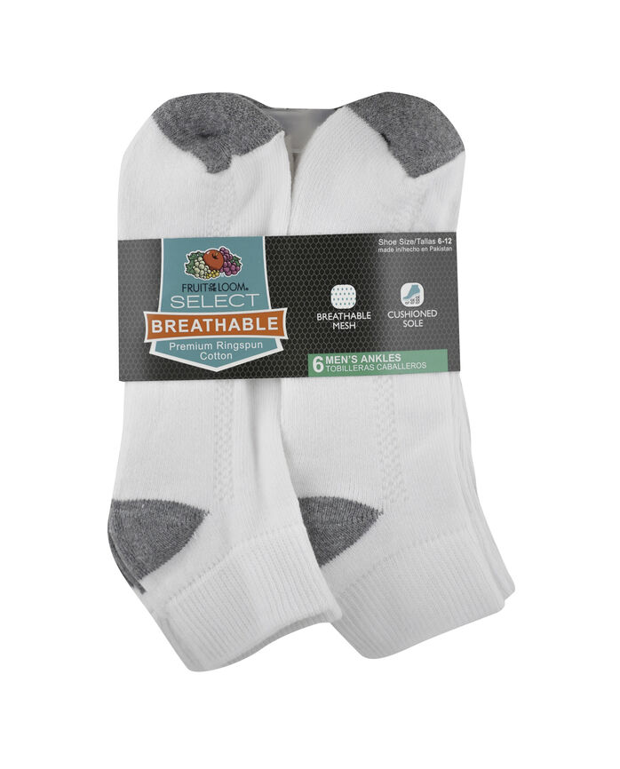 Men's Breathable Cotton Ankle Socks,  6 Pack, Size 6-12