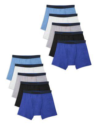 Boys' Breathable Cotton Boxer Briefs, 10 Pack
