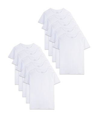 Toddler Boys' Classic White Crew T-Shirts, 10 Pack