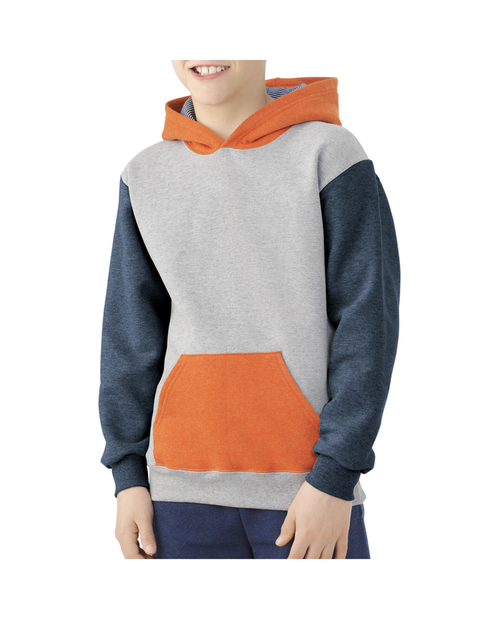Boys Fleece Hoodie Sweatshirt ATHLETIC HEATHER / T.BLUE HEATHER / MASON ORANGE HEATHER / SMOKE BLUE STRIPE