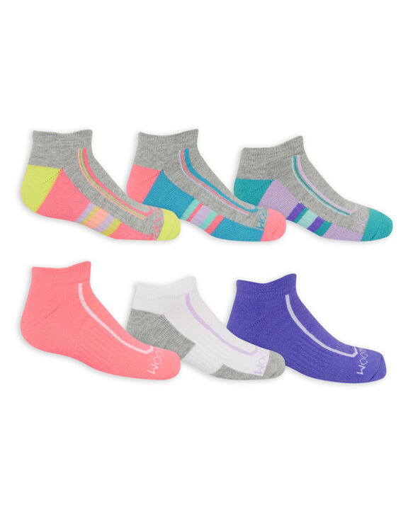 Girls' Active Cushioned Low Cut Socks, 6 Pack GREY/BLUE, GREY/GREEN, GREY/PINK, PINK, WHITE/GREY, PURPLE