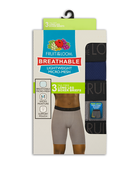 Men's Breathable Lightweight Micro-Mesh Long Leg Boxer Briefs, 3 Pack ASSORTED