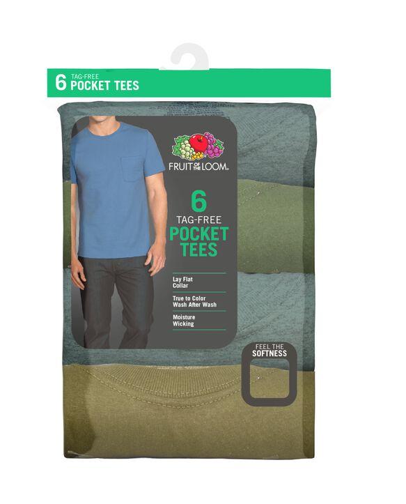 Men's Short Sleeve Assorted Pocket T-Shirt, 6 Pack ASSORTED