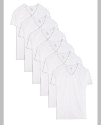 Tall Men's Classic White V-Neck T-Shirts, 6 Pack