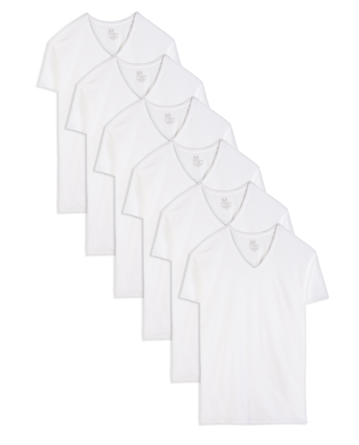 Tall Men's Classic White V-Neck T-Shirts, 6 Pack