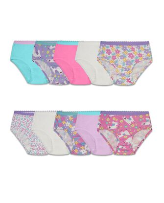 Toddler Girls' Assorted Cotton Brief Underwear, 10 Pack