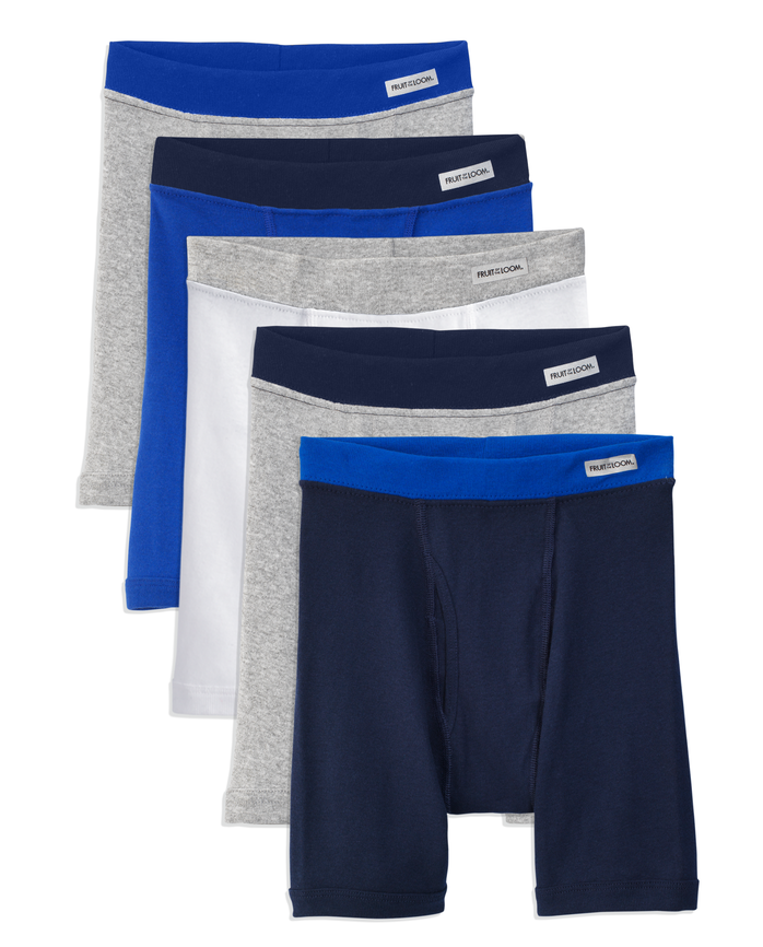 Boys' Covered Waistband Boxer Briefs, 5 Pack