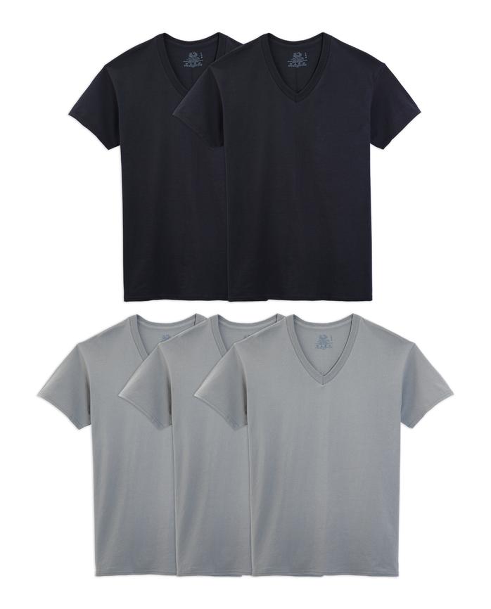 Men's Dual Defense Black/Gray V-Necks, 5 Pack