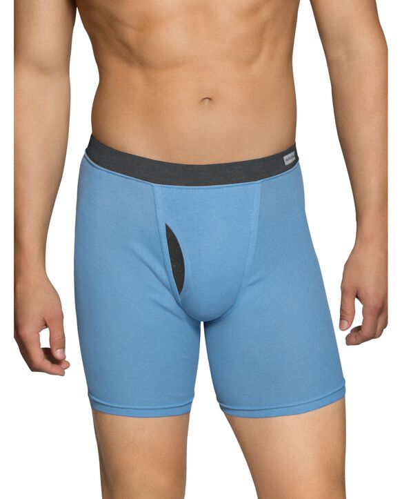 Men's EverSoft CoolZone Fly Covered Waistband Boxer Briefs, 6 Pack ASSORTED