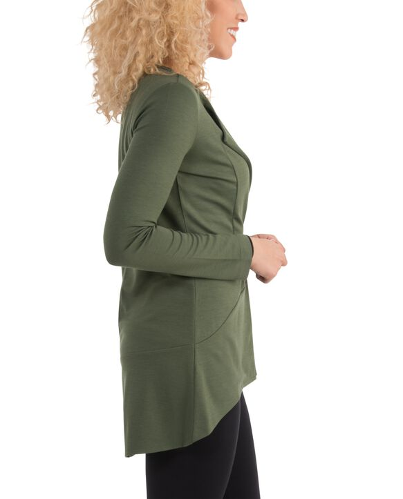 Women's Seek No Further Open Front Long Sleeve Ponte Stretch Jacket Military Green