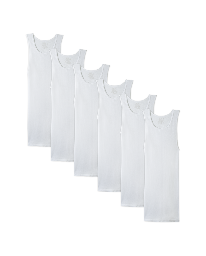 Men's White A-Shirts, 6 Pack