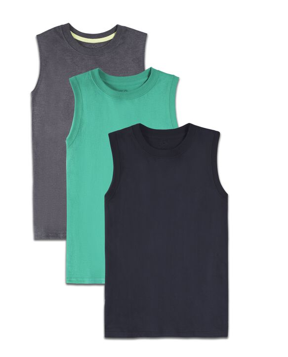 Boys' Super Soft Solid Multi-Color Sleeveless Muscle Shirts, 3 Pack Lucky Asst.