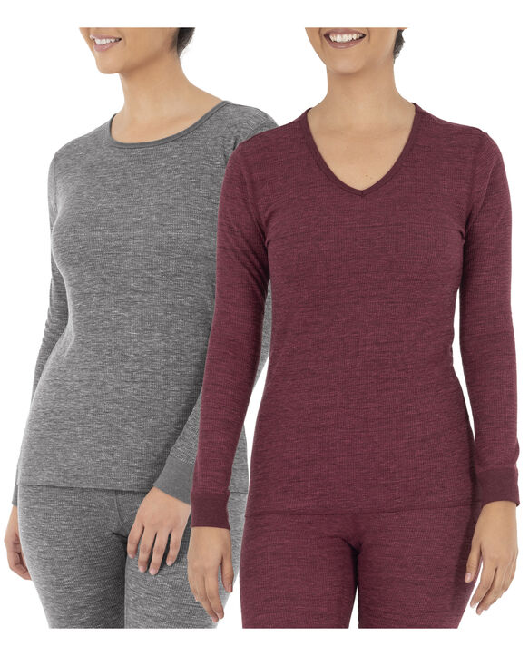 Women's Thermal Crew & V-Neck Top, 2 Pack Smoke Heather/ Merlot Heather
