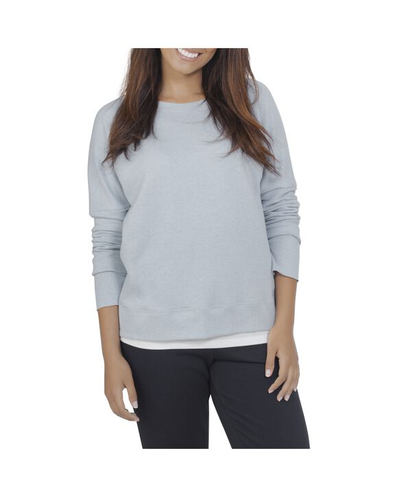 Women's Essentials Long Sleeve French Terry Top, 1 Pack Reef Waters Heather