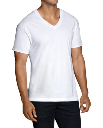 Men's Short Sleeve White V-Neck T-Shirts, 6 Pack