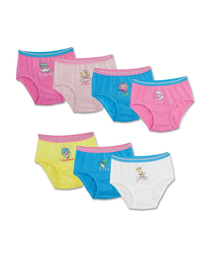 Toddler Girls' Theme Pack Brief Panty, 7 Pack, 2T/3T Assorted