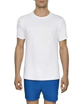 Tall Men's Short Sleeve White Crew T-Shirts, 3 Pack