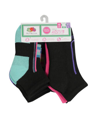 Girls' Active Cushioned Ankle Socks, 6 Pack