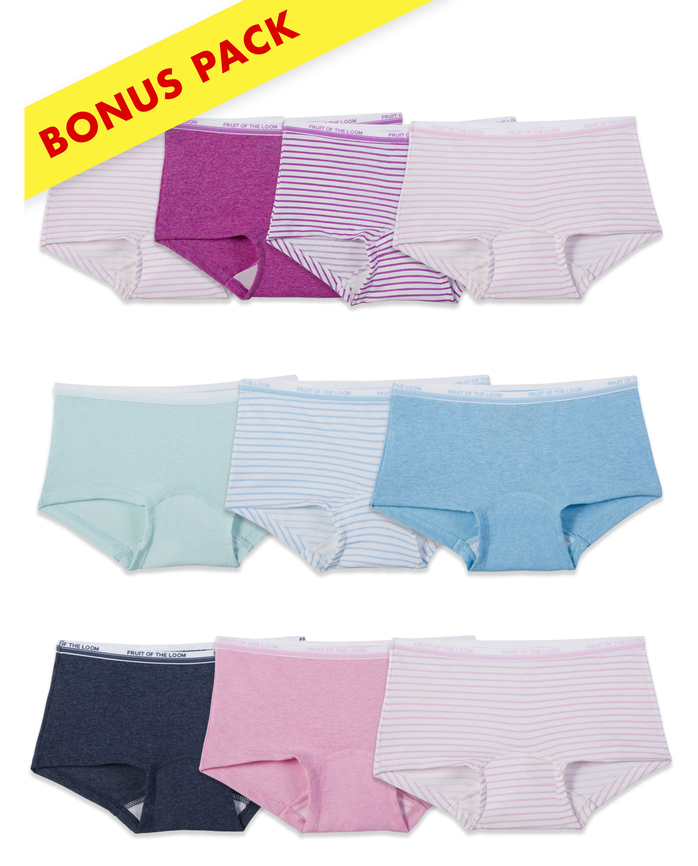 Assorted Heather Boy Shorts, 9+1 Bonus Pack